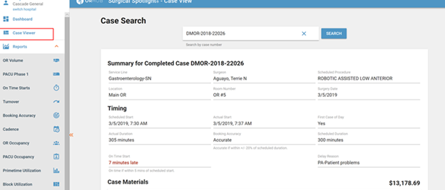 The Case Viewer is an online version of our Surgical Case Receipt
